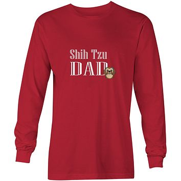 Chocolate Brown Shih Tzu Dad Long Sleeve Red Unisex Tshirt Adult Extra Large BB5257-LS-RED-XL