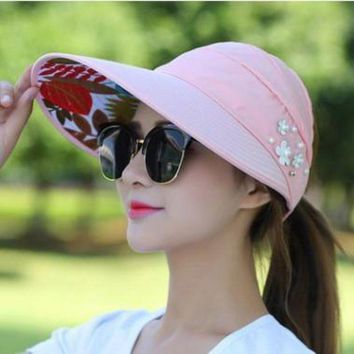 2017summer Style Women Foldable Wide Large Brim Floppy Beach Gorro Baseball Cap  Outdoors Cap Sun Collapsible Anti Uv Hat