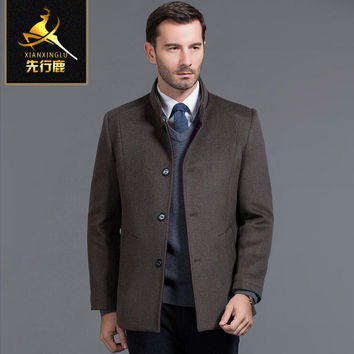 Men's winter high quality Brand cashmere Formal wear Wool & Blends New Male Outwear coats Adults Jackets Business casual jacket