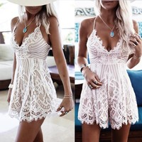 Hot Sale Thick Long Hot Deal Spaghetti Strap Jumpsuit Sexy Backless Lace False Eyelashes [37366988826]