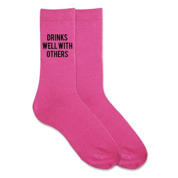 Drinks Well With Others - Funny Socks - Humorous Men's Gift Socks