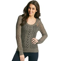 Sequin Hearts Juniors' Open Weave Sweater at www.carsons.com