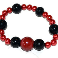 Beaded Bracelet In Red and Black
