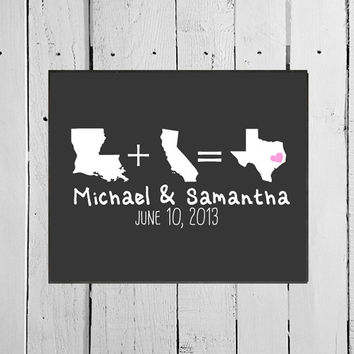 Newlywed Personalized Chalkboard Digital Print, Unique Customized Wedding Gift, Home State Silhouette Husband and Wife New Marriage New Home