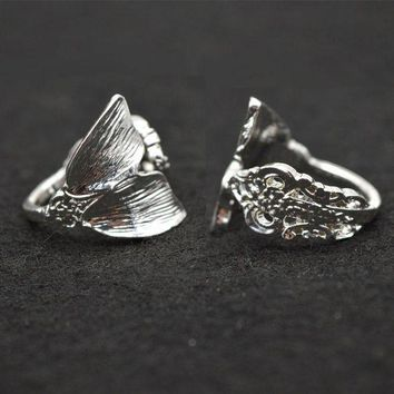 ONETOW New Color Silver Mermaid Ring Women Tiny Spoon Tail Ring  Index Thumb Ring Elegant RG57