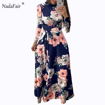 Nadafair long sleeve o neck floral print long dress women boho sash bow slim vintage dress winter elegant maxi dress