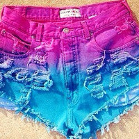 The Cotton Candy High Waisted Dip Dyed Shorts
