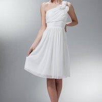 ONE SHOULDER SHORT CHIFFON DRESS