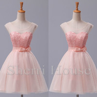 Sheer Straps Applique Bowknot Short A-Line Bridesmaid Celebrity dress ,Tulle Evening Party Prom Dress Homecoming Dress