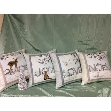 Christmas Accent Pillow with Swarovski Crystals - Noel