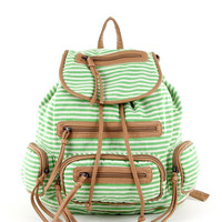 Striped Canvas Backpack in Green
