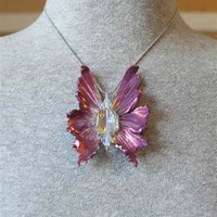 Gorgeous Pink Fantasy Fairy Wing pendant with Swarovski Crystal