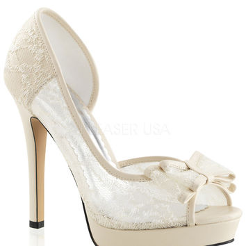 D'orsay Ivory Lace Peep Toe Pumps