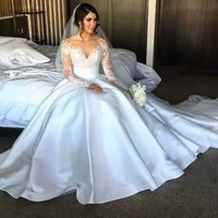 Long Sleeves White Satin Wedding Dress Bridal Gown Custom Size 2 4 6 8 10 12 14