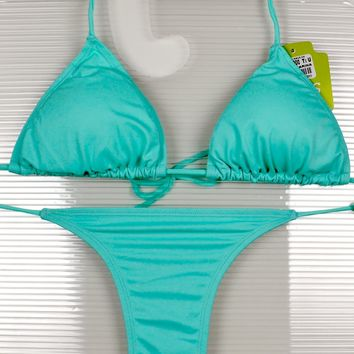 Green 3 Piece Set Triangle Top, Side Tie Thong & Side Tie Scrunch Bottom Bikini Swimsuit (Many colors available)