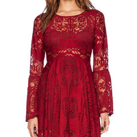 Free People Lover's Folk Song Dress in Red