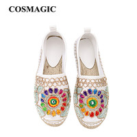 Fashion Ethnic Casual Espadrilles Flat 2017 New Women Spring Printed Embroider Slip on Fishermen Hemp Rope Shoe Free Shipping