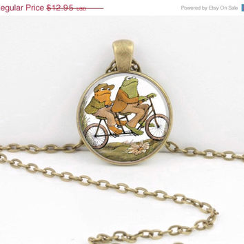 ON SALE Frog and Toad Together are Friends Bicycle Glass Art  Pendant Necklace or Key Ring