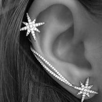 Sparkly Star Wrapping Ear Cuffs Asymmetric Set - LilyFair Jewelry