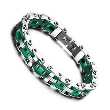 Punk Style Stainless Steel Bracelet Men Jewelry Green Silicone Biker Bicycle Chain Bracelets For Male