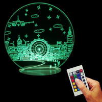 Home Decor Night Scene Table Light 3D Color Changing LED Table Light USB Wood Base Kid Lamp