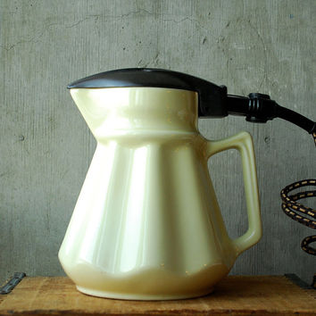 Vintage Australian Electric Jug Kettle Pale Yellow Ceramic Art Deco Style 1940's