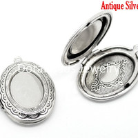 DoreenBeads Lovely Antique Silver Oval Photo Frame Locket Pendants 34x24mm, sold per packet of 5 (B15912)