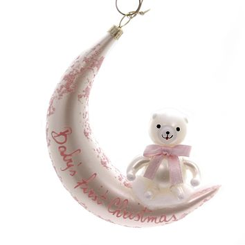 De Carlini BABYS FIRST CHISTMAS Glass Ornament Birth Italian Ba1736m Pink