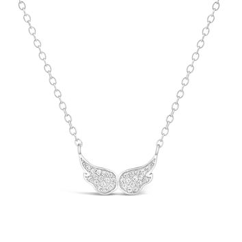 "Sterling Silver Angel Wings Pendant Cubic Zirconium 18"" Adjustable Chain"