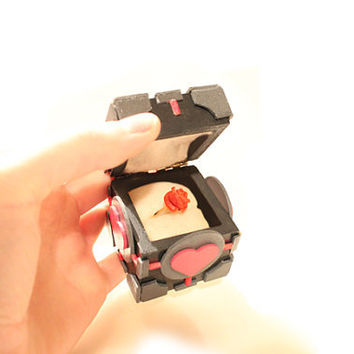 Companion Cube Inspired Ring Box