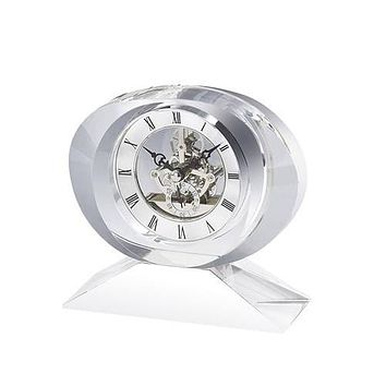 Personalized Free Engraving Crystal Clock with Goldtone See Thru Movement