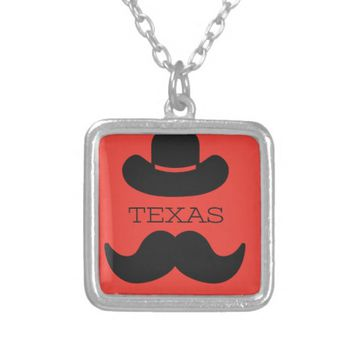 Texas in RED Silver Plated Necklace