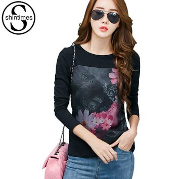 Graphic Tees Women Clothes 2017 Casual Print T-Shirt Korean Long Sleeve Tshirt Cotton Plus Size Womens Clothing Vetement Femme
