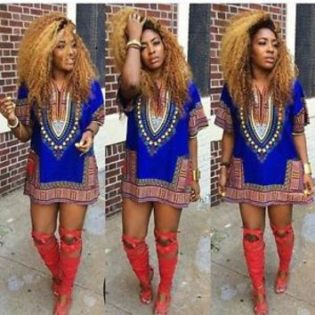 New Women Traditional African Print Sexy Dashiki Loose Short Sleeve Party Dress
