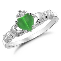 Sterling Silver with Synthetic Green Cat's Eye Claddagh Ring