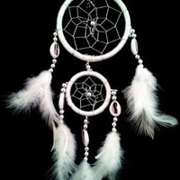 White Dream Catcher with Feathers Wall or Car Hanging Ornament (With a Betterdecor Gift Bag)-2r