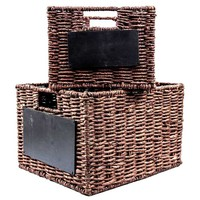 Brown Maize Rope Basket Set with Chalkboards | Hobby Lobby