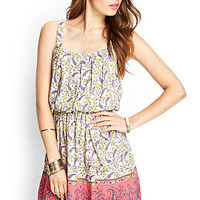 LOVE 21 Pleated Paisley Print Dress Cream/Purple