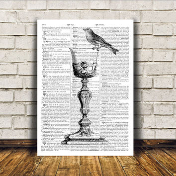 Antique art Wine glass poster Royal print Modern decor RTA386