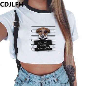 2017 Summer Fashion Women Crop Top Dog Wolf Print T-Shirt White