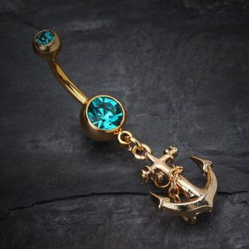 Golden Classic Anchor Belly Ring