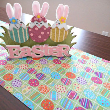 Easter Table Runner Eggs Green Purple Yellow Blue Orange Pink Polka Dots Stripes Checkerboard Glitter Buffet Reversible