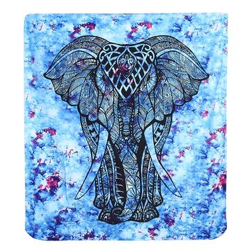 Printed Elephant Tapestry Home Beach Towel Sit Blanket Yoga Mat Dacron Rectangle Wall Carpet Wall Decor Tapestries Sheet