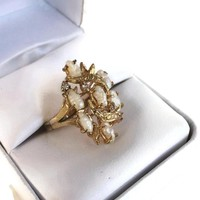 Vintage Gold Plated Freshwater Pearl Ring Size 5 1/4, Feminine Romantic Ring, Genuine Pearl Cocktail Ring, 30th Wedding Anniversary