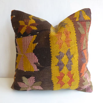 Brown Kilim Pillow Cover with Colorful Ethnic Design