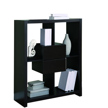 "Cappuccino Hollow-Core 48""H Bookcase With Storage Drawers"