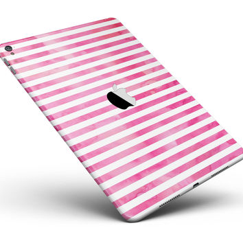 "the Grungy Pink Watercolor with Horizontal Lines Full Body Skin for the iPad Pro (12.9"" or 9.7"" available)"