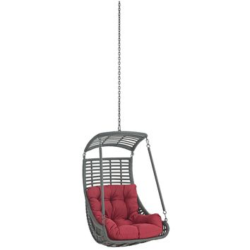 Jungle Outdoor Patio Swing Chair Without Stand Red EEI-2655-RED-SET
