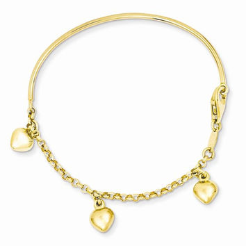 14k Polished Dangle Heart Baby Bracelet