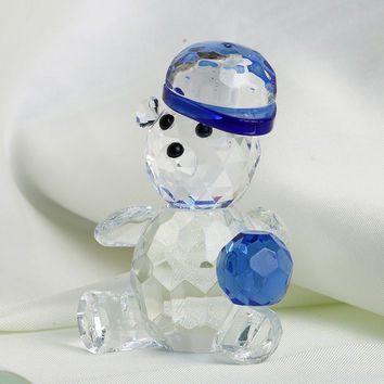 Glass Crystal Bear Blue Figurines Paperweight Crafts Art
